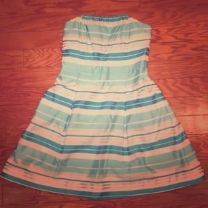 Lily Pulitzer 6 Silk Blue Stripe Strapless Dress